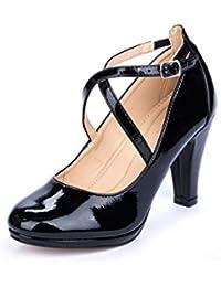 Amazon.es  zapatos tacon mujer negros - Hebilla   Zapatos de tacón ... 8e18c65238b0