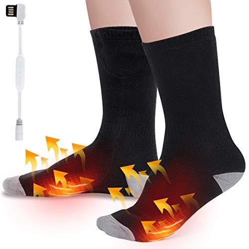 Calze riscaldate elettrica, 3 temperature regolabil elettrichei calzini termici, sportivi per invernali scaldapiedi per l'escursionismo da ciclismo sci moto, mantieni i tuoi piedi caldi, lavabile
