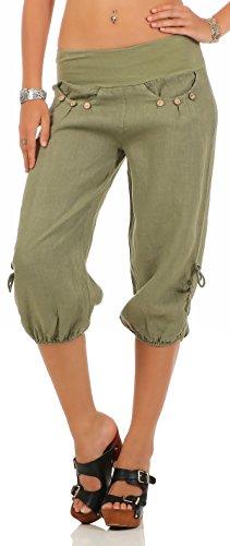 malito Damen Capri Hose aus Leinen | Stoffhose in Unifarben | Freizeithose für den Strand | Chino - kurze Hose 6302 (oliv, S) (Capri-hosen-hosen)