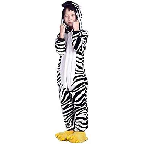 Aivtalk Zebra Animal Unisex Kids Girl Boy Flannel Pajamas One-Piece Sleepwear,Zebra,Height:125-135cm/49.2-53.1 by Aivtalk