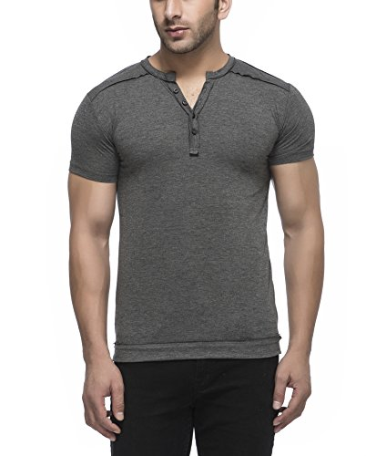 Tinted Men's Button Front Cotton T-Shirt (TJ106RH-ANTHERA-M_Grey_Medium)