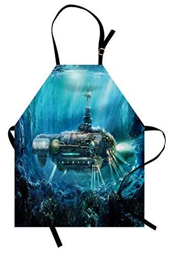 ochschürze, Science Fiction inspiriert Unterwasser Unterwasser futuristische Digitale Illustration, Farbfest Höhenverstellbar Waschbar Klarer Digitaldruck, Aqua ()