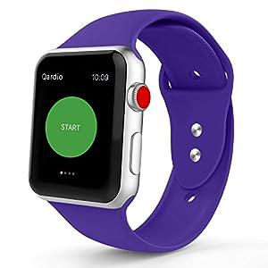 Iyou pour Apple Watch Bracelet,Silicone Souple Remplacement Strap pour iWatch 2017 Apple Watch Series 3/2/1, édition, Nike +(42MM M/L, Violet)
