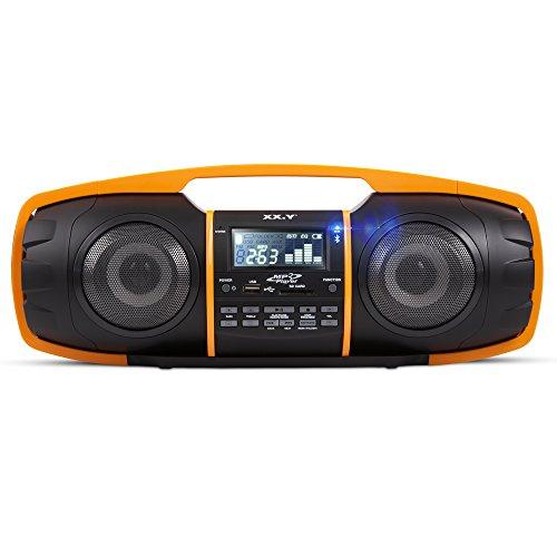 XX.Y DB3800 Portable kabelloses Audio System Bumper mit Bluetooth und integriertem FM-Radio schwarz/orange