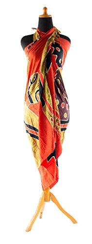 Sarong ca. 170cm x 110cm Handbemalt inkl. Sarongschnalle im Schmetterling Design - Viele exotische Farben und Muster zur Auswahl - Pareo Dhoti Lunghi Schildkröte Rot Ocker Batik