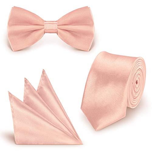 StickandShine SET Krawatte Fliege Einstecktuch Zartrosa einfarbig uni aus Polyester