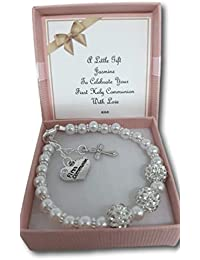 Girls Beaded Bracelet First Holy Communion Gift Present with Personalised Card