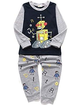 Little Hand Jungen Zweiteiliger Schlafanzug Baumwolle Lange Nachtwäsche Fahrzeug Bagger Kinder Pyjama