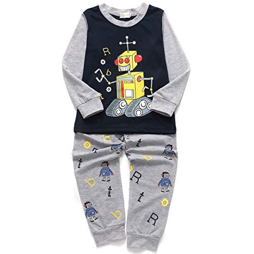 Little Hand Jungen Zweiteiliger Schlafanzug Baumwolle Lange Nachtwäsche Kinder Pyjama- Gr. 92(Herstellergröße 90), Dunkelblau