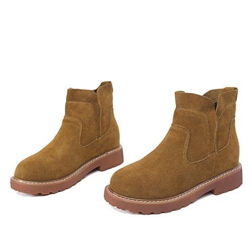 WJNKK New Womens Ladies Flat Leather Stivaletti Scarpe Alla Moda Retro Leisure Large Size 35-40 Yellow