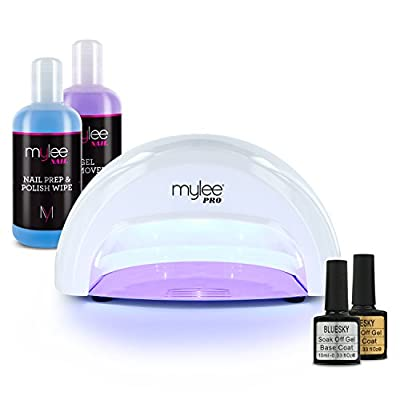 MYLEE 15-Seconds-Cure Convex LED Gel Polish White Nail Drying Lamp KIT with Bluesky Top Coat & Base Coat, Mylee Prep+Wipe & Gel Remover … by MYLEE