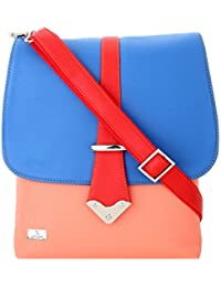 K London Medium Sized Casual Artificial Multi-color Leather Sling Bag For Women & Girls (Blue,Peach,Red) (1308...