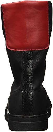 Bikkembergs Bounce 720 Low Boot W Leather/S.Leather Stretch, Baskets Hautes Femme Noir - Nero (Black/Red)
