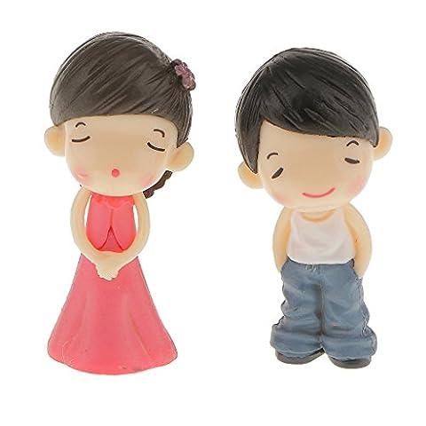 MagiDeal Paire Figurine de Jeune Couple Résine Ornement de Jardin de Fée Bonsaï