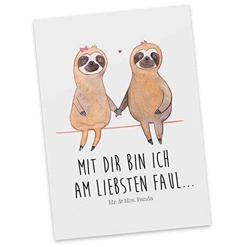 Mr. & Mrs. Panda Postkarte Faultier Pärchen