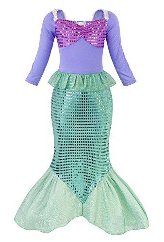 AmzBarley Meerjungfrau Kostüm Kleid Kinder Mädchen Ariel Kostüme Prinzessin Kleider Abendkleid Halloween Cosplay Verrücktes Kleid Geburtstag Party Ankleiden, Grün, 3-4 Jahre (Halloween-kostüme Drei Für Mädchen)