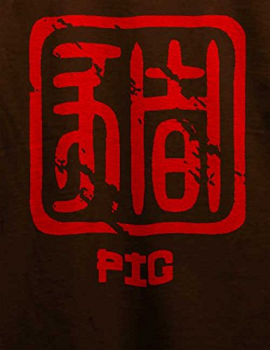 Chinese Signs Pig T-Shirt Braun