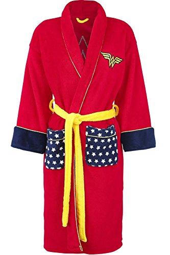 vestaglia wonder woman vestaglia da camera con logo supereroe fronte e schiena tasche frontali vestaglia casa unisex sopra il pigiama