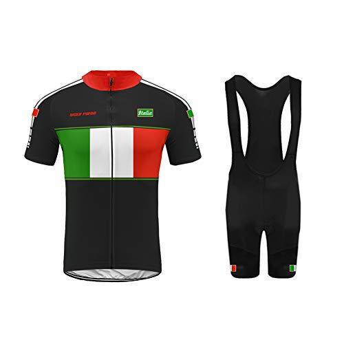 Uglyforg Bike Wear Radtrikot Herren Kurzarm Fahrradbekleidung Set Outdoor Sports Radfahren Jersey + Radfahren Latzhose Shorts im Sommer -