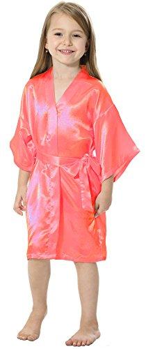 JOYTTON Mädchen kurze Satin Kimono Robe mit besticktem Flower (Mulan Mädchen Für Kostüm)