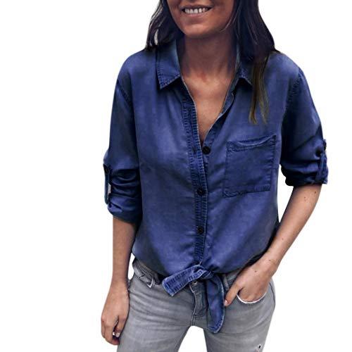 Hffan Damen Denim Einfach Einfarbig Jeanshemd Denim-Oberteil Langarm Freizeit Casual Tops mit Taschen Lose Passen Elegant Modisch Tops Jeansshirt Hemd Oberteil Shirt(Blau,Medium)