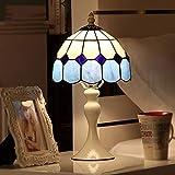 YUN MENG Schlafzimmer-Nachttischlampe kreative romantische Dimmable moderne minimalistische mediterrane Nachttischlampe (Farbe : Blau-20cmdimming)