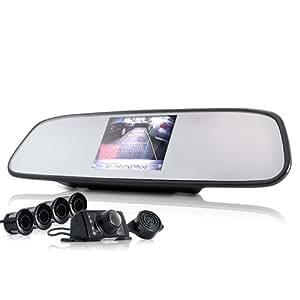 SHOPINNOV Kit aide au stationnement : Rétroviseur + camera de recul + capteur