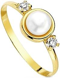 Sortija oro 18k círculo perla multipiedra [AB3109]
