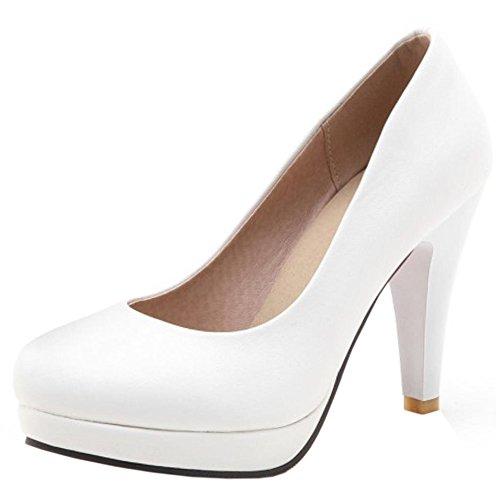 COOLCEPT Damen's Basic Office Büro Schuhe Slip on Simple Dress Heels Pumps White