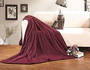 Eleganten Komfort Luxus Microfleece Ultra Plüsch Solide Decke, Alle Größen und Vielen Farben erhältlich Twin/Twin XL Burgunderfarben -