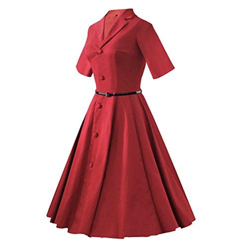 iLover 40s 50s 60s Vintage kurze Ärmel Button Robe de Cocktail Style Audrey Rockabilly Robes de swing WineRed