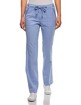 oodji Collection Mujer Pantalones de Lino de Corte Libre