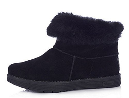 Skechers Adorbs polaire Bottines en daim avec Revers en fausse fourrure - Blue with Blue Fur