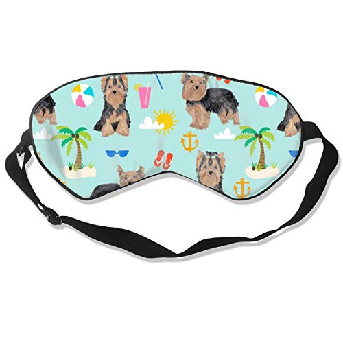 Yorkie Yorkshire Terrier Suer Beach Design Cute Breathable Pure Silk Sleep Eye Mask Best Sleeping Eye Cover for Travel Nap Blindfold with Adjustable