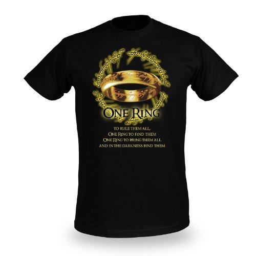 Il Signore degli Anelli - Motivo stampa de L'Unico - Stampa frontale One Ring - Girocollo - Nero - L