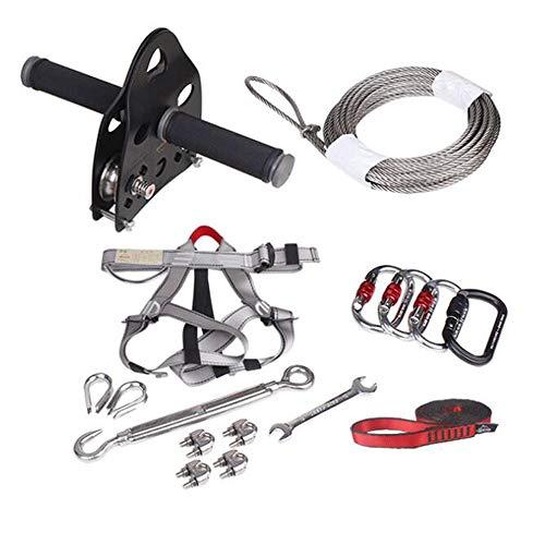 Foot Zip Line Kit für Kinder und Erwachsene (weniger als 150 kg) mit Bremse und Sitz, Reißverschlüsse für Hinterhof-Unterhaltungsgeräte
