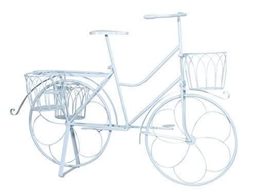 Bicicletta portafiori in ferro battuto finitura bianca anticata