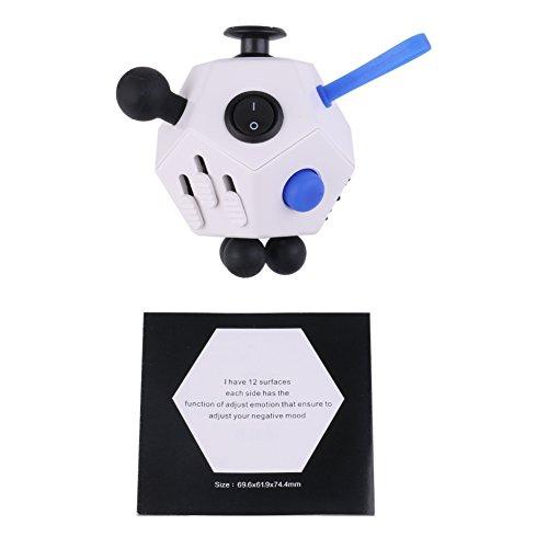 Relieve stress fidget cube, Fidget Dice ii for Stress Relief Fidget Cube Magic Cube for Fidget, 12 Sides of Novelty Toys (White) -