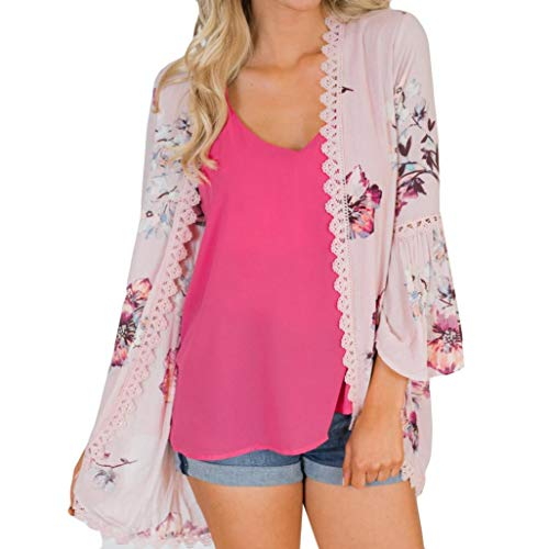 (MRULIC Damen Florale Kimono Cardigan Boho Chiffon Sommerkleid Beach Cover up Leicht Tuch für die Sommermonate am Strand Oder See (M, Y-Rosa))