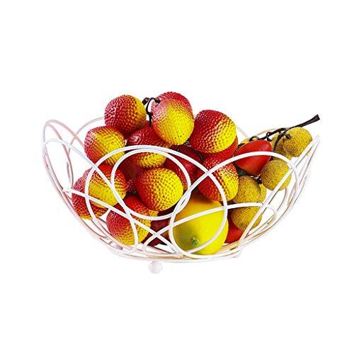 ICTYPM Obstgericht Schmiedeeisen Spitze Obstkorb Kreative Obst Und Gemüse Snacks Wohnzimmer Home Ablagekorb Modernen Minimalistischen Obstteller Obstschale, Obstschalen (Farbe : Weiß)