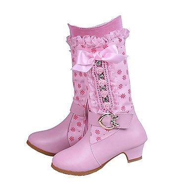 KeKaFu Girls' Shoes PU Fall Winter Comfort Novelty Boots Bowknot Buckle Zipper For Wedding Dress Blushing Pink