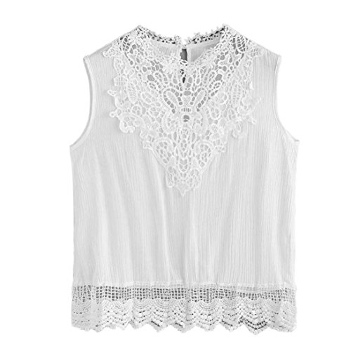 OverDose Damen Lace Chiffon Vest Top Sleeveless Casual Tank Blouse Summer Tops T-Shirt Spitze Weste Sommer Blusen (S, B-Weiß2)