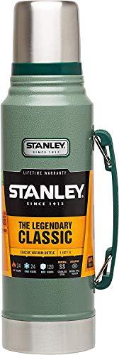 Stanley Legendary Classic Vakuum-Thermoskanne, 1 Liter, Hammertone Green, 18/8 Stainless Edelstahl, Integrierter Thermobecher, Doppelwandige Isolierung Isolierflasche Isolierkanne Kaffeekanne -