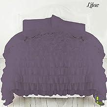 300TC 100% algodón egipcio elegante acabado 3volantes juego de funda nórdica sólido, algodón, Lilac Solid, EU_King