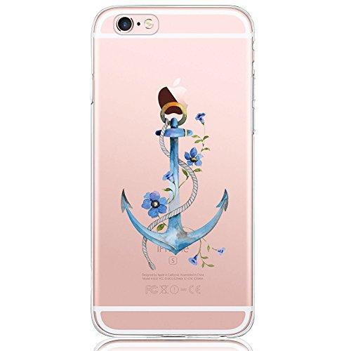iPhone 6 / 6S Hülle, DAPPⓇ Dolce Vita Serie Transparente Silikon Handyhülle für Damen / Mädchen, Durchsichtig mit Blau Anker Blumen Motiv