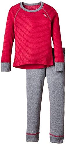 Odlo Kinder Funktionsunterwäsche Mädchen Set Warm Kids Shirt Long Sleeve Pants Long, Rose Red – Grey Melange, 80, 150409 | 07613273799057