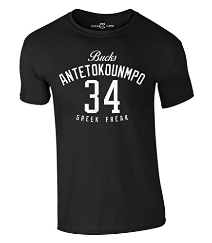 Antetokounmpo 34 T-Shirt Greek Freak Milwaukee Bucks Giannis Basketball Shirt NBA Jersey (M, Schwarz) (Basketball-jersey-shirt)