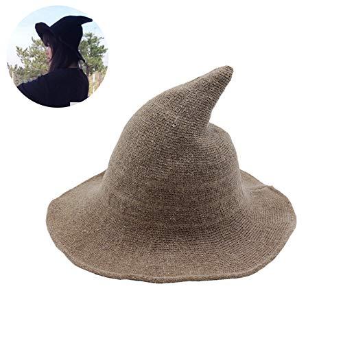Beito 1PC Magie Hexenhut Kinitted-Wollmützen für Halloween-Partei-Maskerade Cosplay-Kostüm-Zusatz (Khaki)