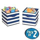 mDesign Juego de 2 cajas organizadoras para guardar juguetes - Cestas de tela a rayas para habitación infantil o dormitorio - Caja de tela con asas, ideal como juguetero - azul marino/blanco