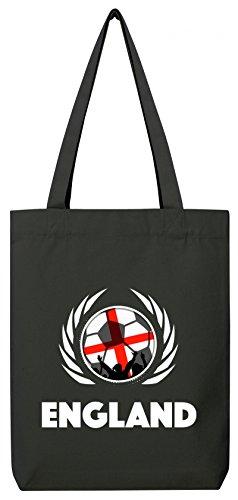 Wappen World Cup Fussball WM Bio Baumwoll Tote Bag Jutebeutel Stanley Stella Fußball England Black